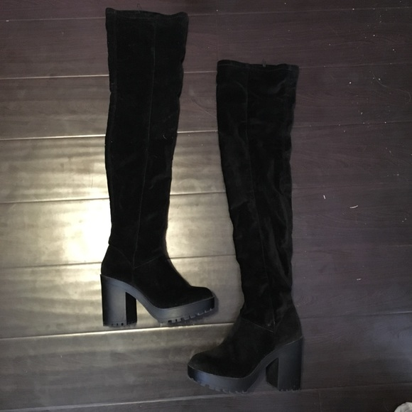 9dd962d6b98 Black Suede Pointed Toe Chunky Heel Thigh High Boots  038669   Womens  Fashion Boots